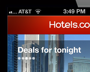 Hotels.com iphone 'Deals for tonight' flow
