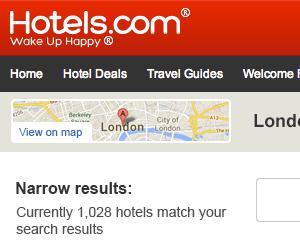 Hotels.com responsive SRP