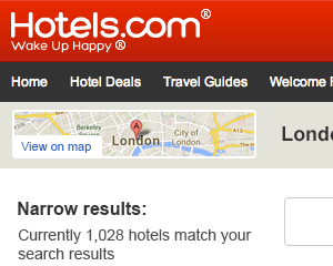 Hotels.com responsive search results